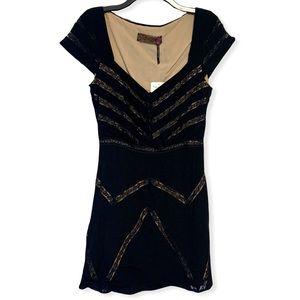 Free People Elle Dress A-Line Mini Lace Black Tan
